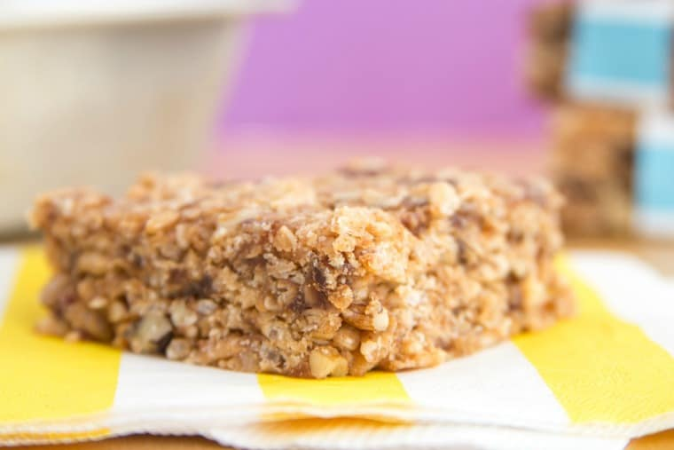 Closeup of Nut and Honey Granola Bars recipe