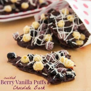 Swirled Berry Vanilla Puffs Chocolate Bark - a fun chocolaty, chewy treat that's so easy to make! Made with gluten free Cascadian Farm Berry Vanilla Puffs, and can be nut-free and vegan! | cupcakesandkalechips.com