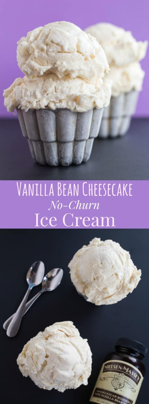 Vanilla Bean Cheesecake No-Churn Ice Cream has the pure essence of vanilla and the irresistible tang of cheesecake in a rich and creamy frozen dessert. Four ingredients and no ice cream maker needed and only four ingredients! | cupcakesandkalechips.com