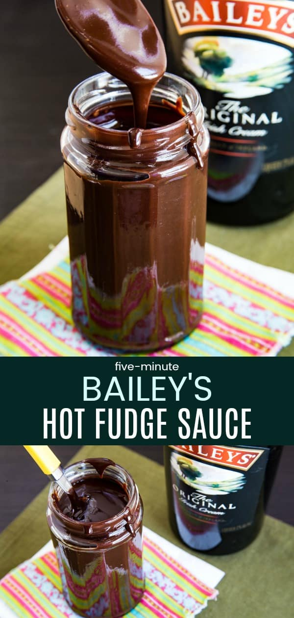 Five-Minute Bailey's Hot Fudge Sauce - a thick, luscious Irish Cream and chocolate dessert sauce recipe that you can make in no time with only four ingredients! #baileys #irishcream #hotfudge