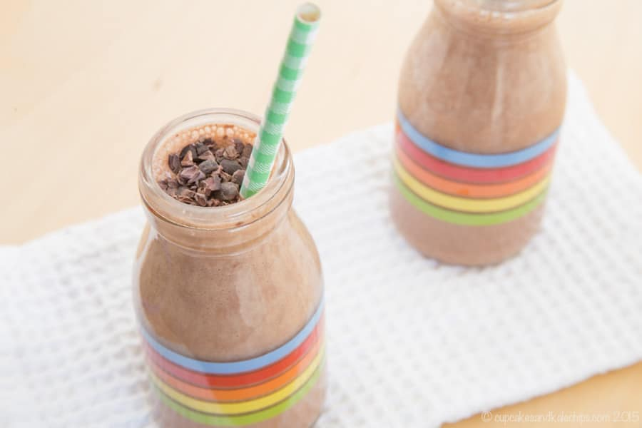 Chocolate Mint Smoothie in a glass bottle with colored stripes on the side