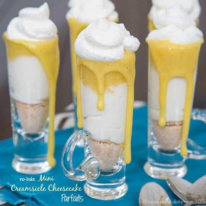 No-Bake Mini Creamsicle Cheesecake Parfaits are simple miniature ...