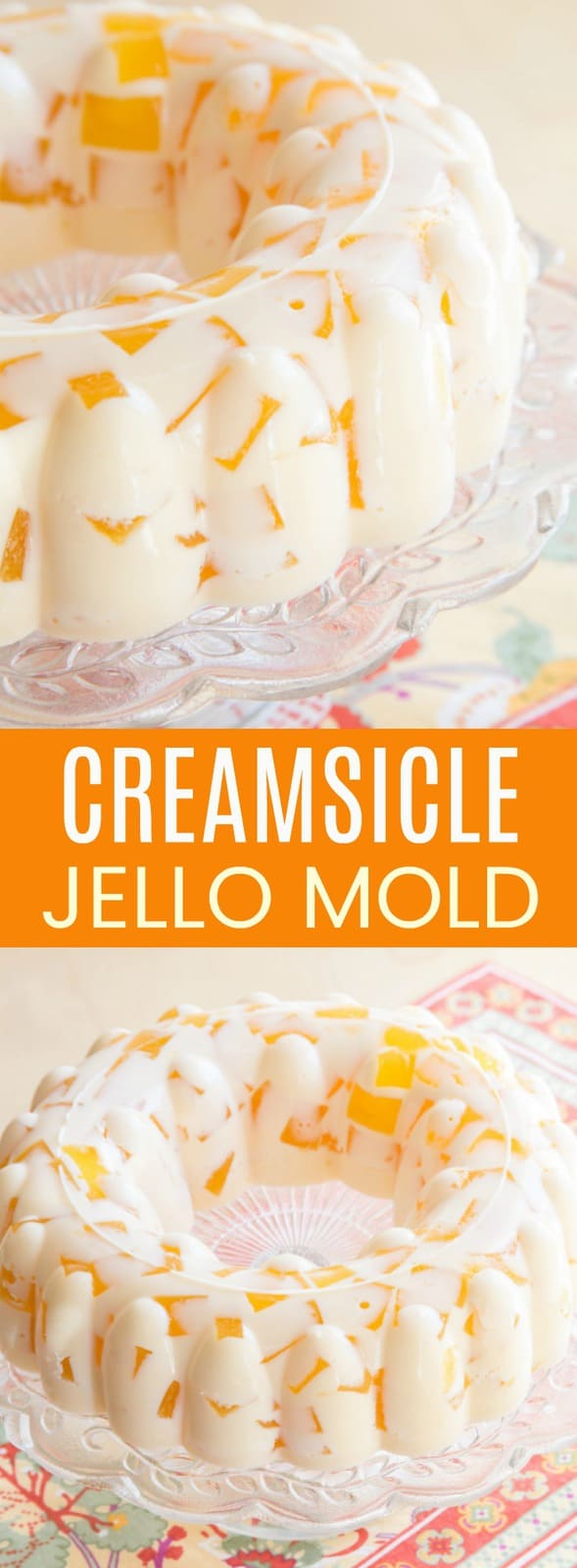 Creamsicle Jello Mold - cubes of fresh orange jello floating in vanilla ice cream gelatin is a creamy and fun retro dessert based on vintage recipes. This gluten-free no-bake dessert recipe is perfect for spring and summer. #cupcakesandkalechips #creamsicle #jello #jellomold #jellosalad #retrorecipe #glutenfree #nobakedessert