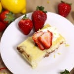 Crustless Lemon strawberry cheesecake