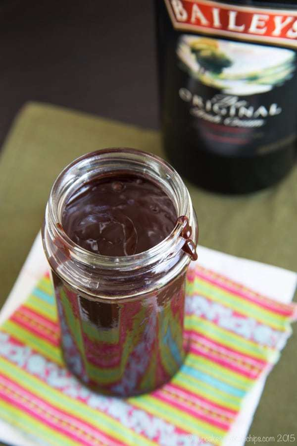 Overhead of Baileys Hot Fudge Sauce in a jar
