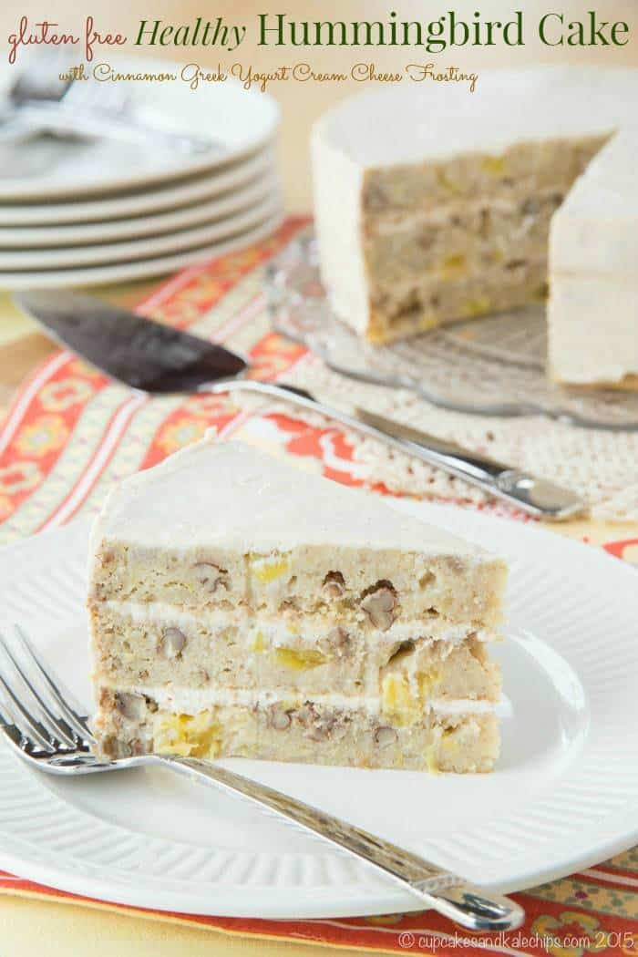 Gluten Free Healthy Hummingbird Cake with Greek Yogurt Cinnamon Cream Cheese Frosting - a moist fruit and nut filled cake sweetened with bananas and honey. Perfect for spring! | cupcakesandkalechips.com
