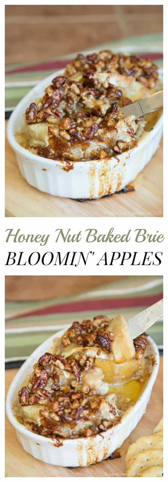 "Honey Nut Baked Brie Bloomin' Apples - melty Brie cheese oozing between ""petals"" of fruit make this semi-copycat recipe and irresistible appetizer! 