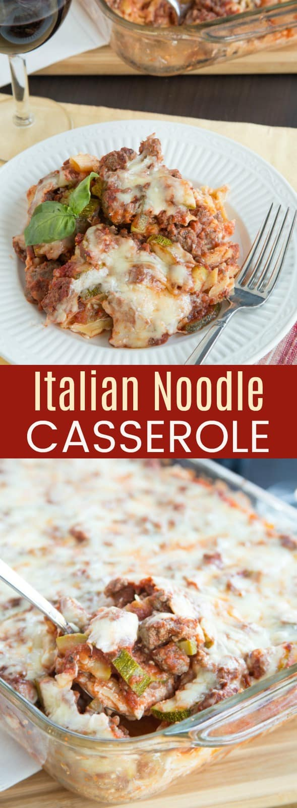 Italian Noodle Casserole - an old-fashioned baked Italian pasta recipe gets a healthy update, but keeps the layers of creamy noodles, meaty sauce and bubbly cheese. You can even use gluten free pasta to make this comfort food family dinner. #cupcakesandkalechips #pasta #casserole #glutenfree #comfortfood #noodles #groundbeef