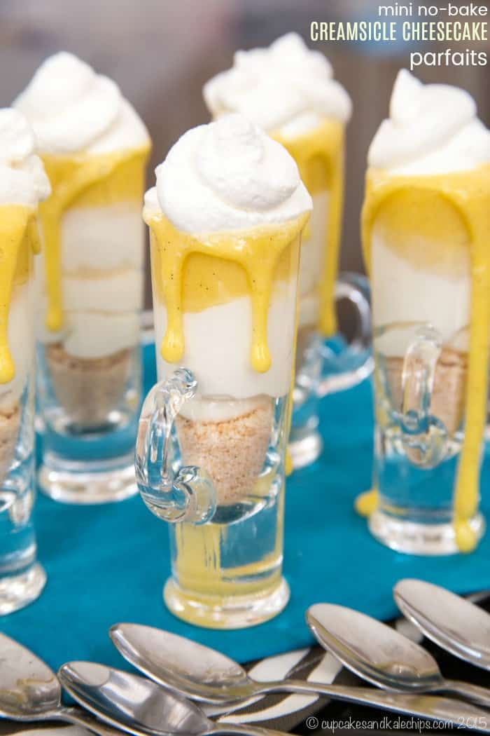 Gluten-Free Mini No-Bake Creamsicle Cheesecake Parfaits