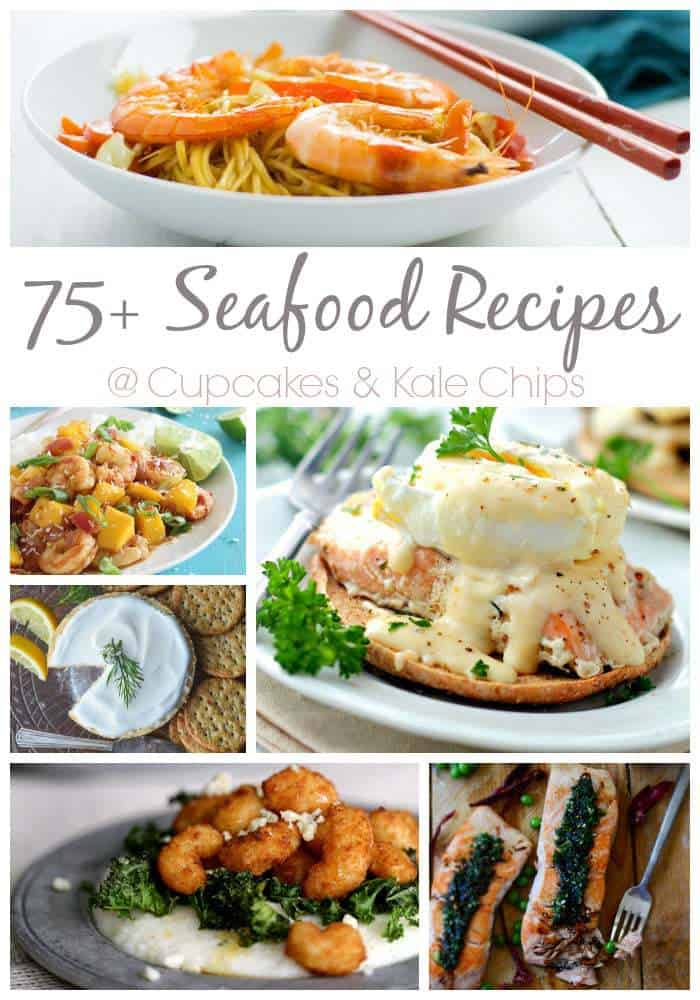 75+ Seafood Recipes - appetizers and main dishes featuring salmon, shrimp, tuna, scallops, lobster, cod, crab, and more! | cupcakesandkalechips.com