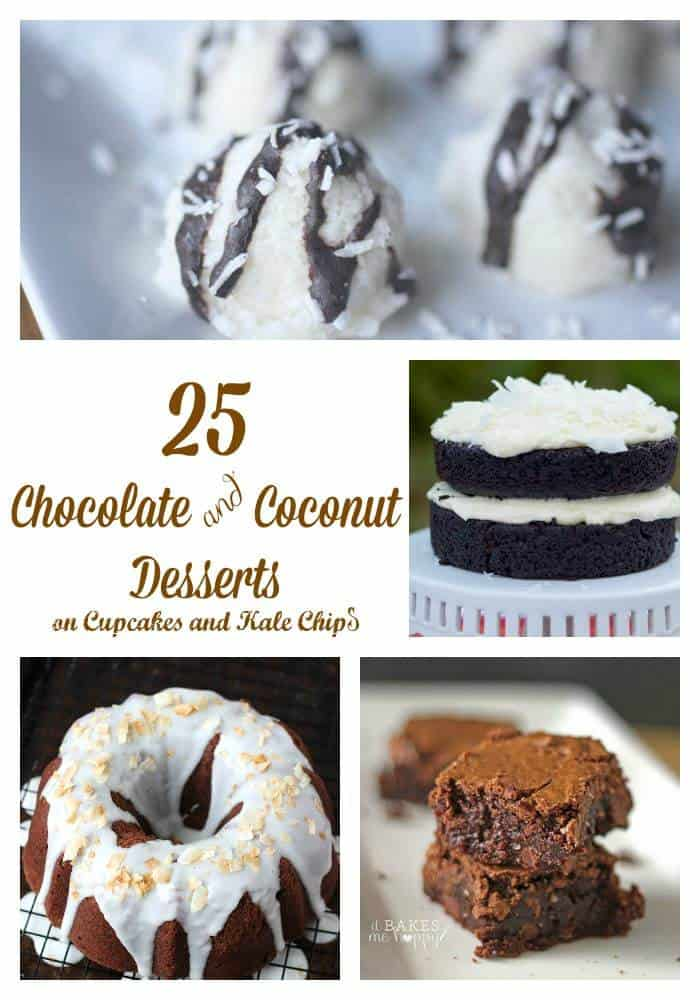25 Chocolate and Coconut Desserts - cakes, cupcakes, cookies and more, inspired by Almond Joy, Samoas, or just this classic combo! | cupcakesandkalechips.com