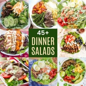 collage of grilled steak and asparagus salad, shrimp cobb salad, grilled chicken and berry salad, autumn turkey salad, taco salad, grilled steak and mango salad, lobster cobb salad, and vietnamese pork meatball salad