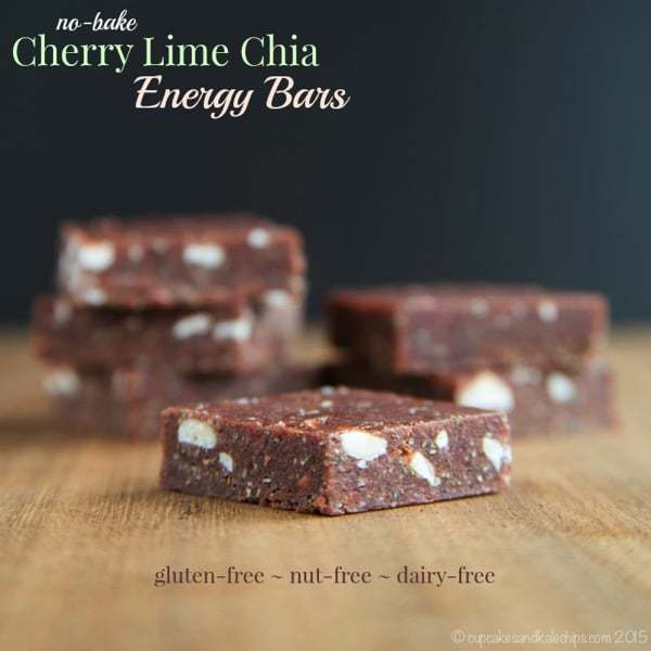 No-Bake Cherry Lime Chia Energy Bars - a super easy and healthy snack, perfect for busy days! Plus they are gluten free, grain free, nut free, vegan and dairy free! | cupcakesandkalechips.com