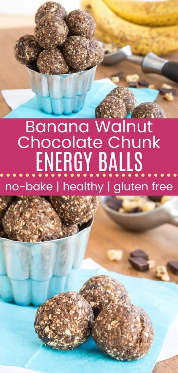 Chunky Monkey Energy Balls - a quick, healthy snack loaded with chunks of dark chocolate and walnuts, sweet bananas, and a few superfoods.   cupcakesandkalechips.com   gluten free, dairy free, vegan recipe
