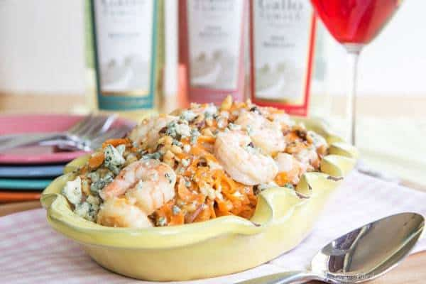 Honey Walnut and Blue Cheese Shrimp with Sweet Potato Noodles - a sophisticated but easy seafood recipe with tons of flavor! Super creamy with a bit of crunch! | cupcakesandkalechips.com | gluten free, grain free
