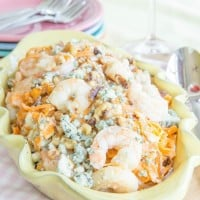 Honey Walnut Shrimp with blue cheese on sweet potato noodles
