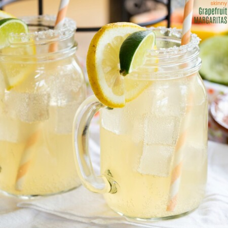 Skinny Grapefruit Margaritas with grapefruit, lemon, and lime
