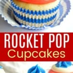 one cupcake decorated for fourth of july with red, white, and blue frosting plus more on a table