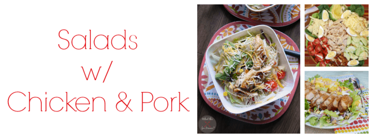 Labels for Salads with Chicken & Pork with examples of three recipes