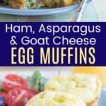 Two whole ham and asparagus egg muffins on a plate and another plate with one cut open