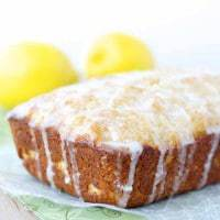 Healthy, whole wheat lemon yogurt loaf with a delectable lemon glaze.  Quick, easy and healthy for the perfect breakfast or snack!