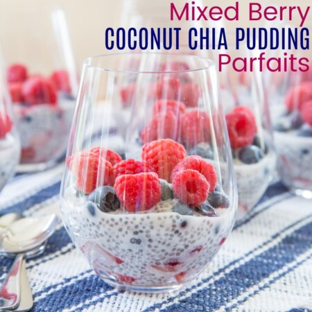 Triple Berry Coconut Chia Pudding Parfaits with title