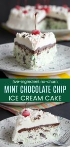 No Churn Mint Chocolate Chip Ice Cream Cake Collage
