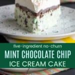 No Churn Mint Chocolate Chip Ice Cream Cake Collage