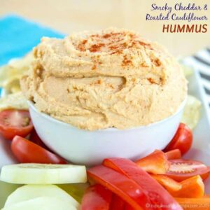 Smoky Cheddar Roasted Cauliflower Hummus recipe-2291 title
