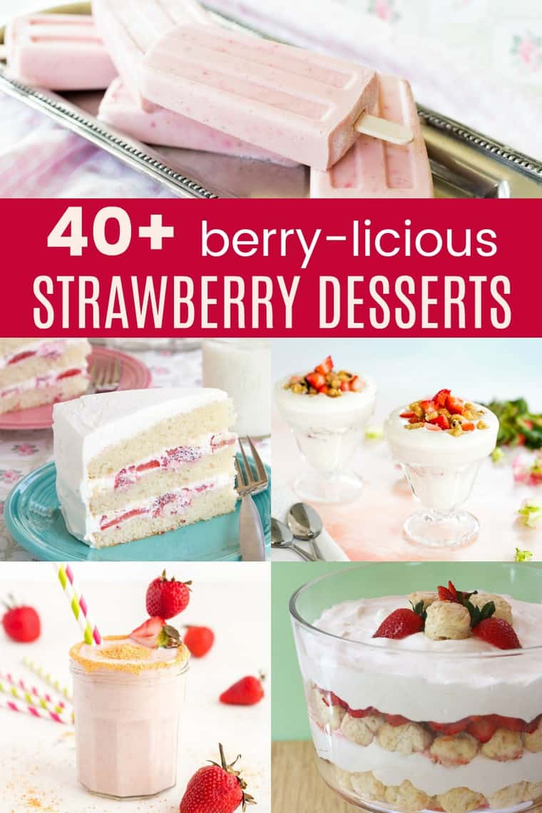 30 Strawberry Desserts - what to do with all of those strawberries? How about making some of the best dessert recipes from the greatest food bloggers on the web! | cupcakesandkalechips.com