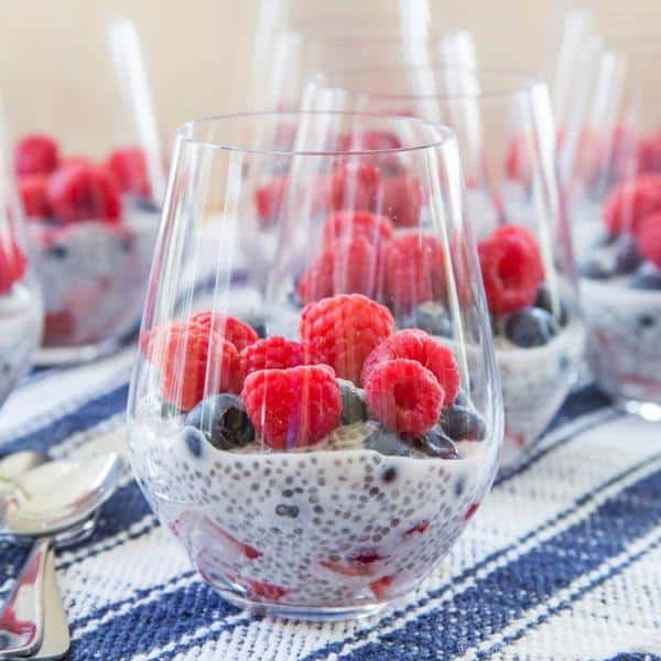 Triple Berry Coconut Chia Pudding Parfaits  - a light and healthy dessert or breakfast perfect for Memorial Day, Fourth of July, Labor Day, or any summer day when strawberries, blueberries, and raspberries are in season! | cupcakesandkalechips.com | gluten free, vegan, paleo recipe