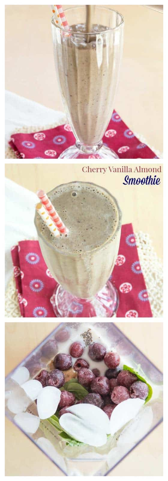 Cherry Vanilla Almond Smoothie - made with cherries and almond butter for a creamy, sweet, and healthy snack or breakfast! My favorite green smoothie recipe! | cupcakesandkalechips.com | gluten free