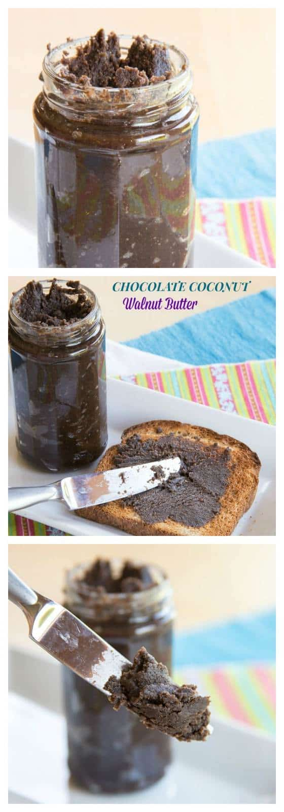 Chocolate Coconut Walnut Butter - add omega 3s, superfoods, antioxidants, and (YAY!) chocolate to your breakfast or afternoon snack. Spread this nut butter on toast, apples, or a spoon! | cupcakesandkalechips.com | gluten free, vegan, paleo recipe