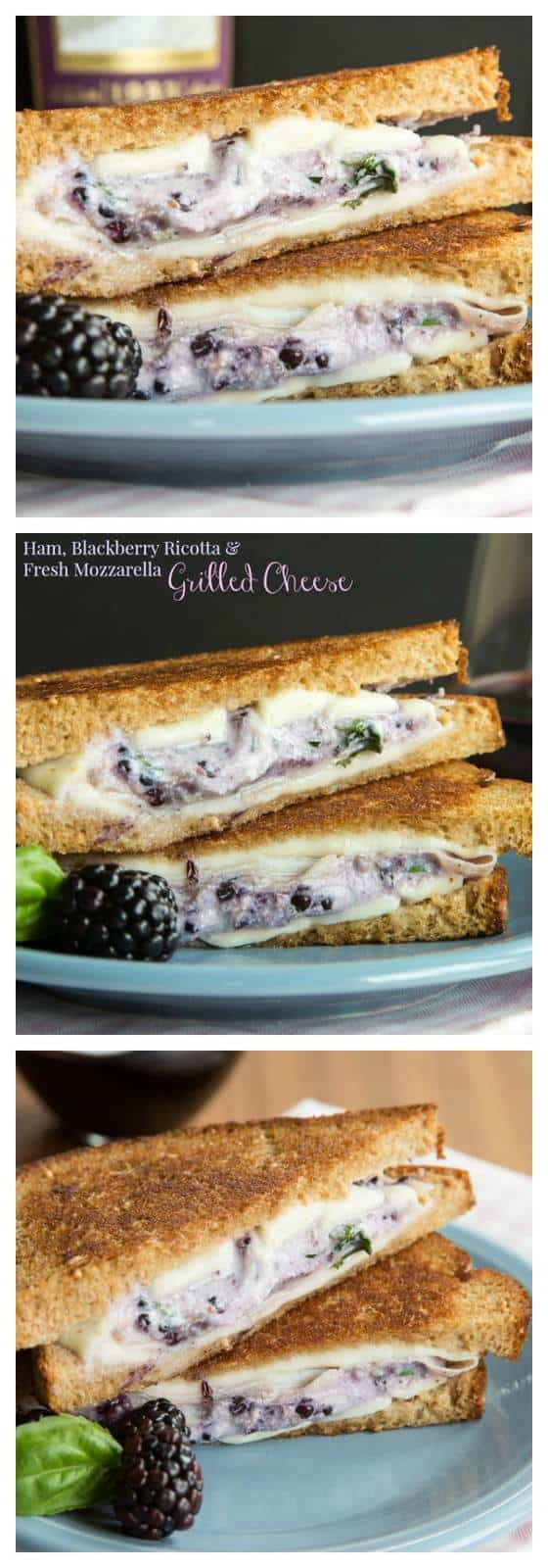 Ham, Blackberry Ricotta, and Fresh Mozzarella Grilled Cheese - this recipe takes the classic comfort food sandwich to fancy pants with plenty of ooey gooey cheesy goodness and a touch of sweet summer berries. | cupcakesandkalechips.com