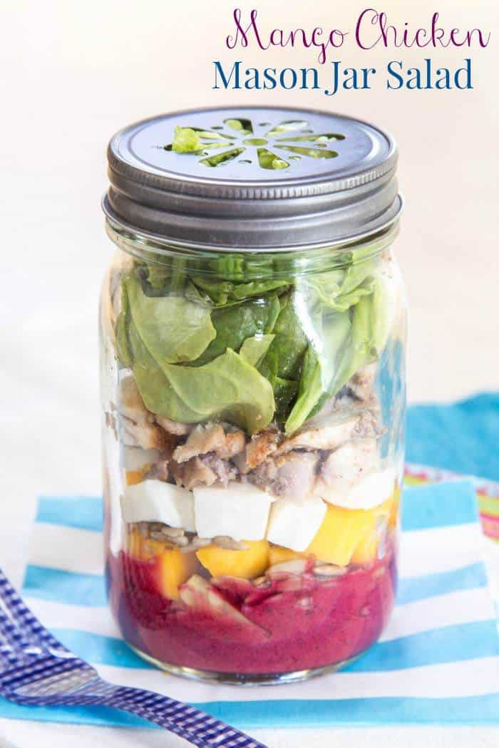 Mango Chicken Mason Jar Salad With Lemon Blueberry Chia Seed Vinaigrette A Simple And Healthy