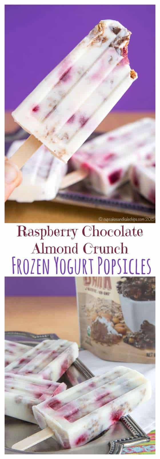 Raspberry Chocolate Almond Crunch Frozen Yogurt Popsicles - cool off this summer with a cold, creamy treat filled with berries and Cascadian Farm Dark Chocolate Almond Coconut Granola Bark. #AD | cupcakesandkalechips.com | gluten free recipe