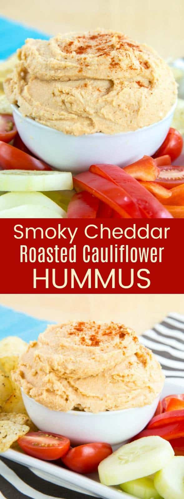 Smoky Cheddar Roasted Cauliflower Hummus recipe is a smooth and creamy healthy dip with hidden veggies, plus the cheesy flavor kids love. Serve with vegetables, chips, or pita for an appetizer or snack that's gluten free and vegetarian recipe. #hummus #glutenfree #cauliflower