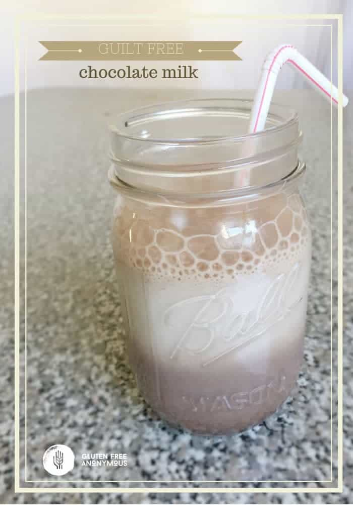 Guilt Free Chocolate Milk  - every kid or kid-at-heart will love this cold drink as a healthy snack or alongside a nutritious breakfast. | cupcakesandkalechips.com | gluten free recipe, vegan option