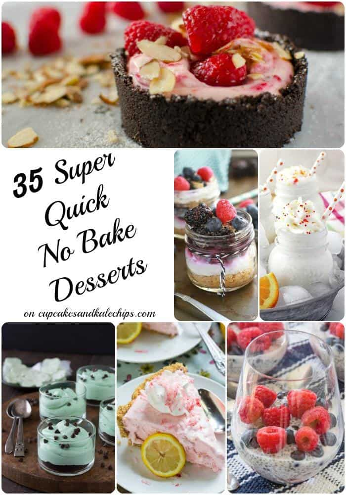 35 Super Quick No Bake Dessert Recipes - puddings, parfaits, cookies, pies, bars and more desserts with NO OVEN REQUIRED! Perfect for summer! | cupcakesandkalechips.com