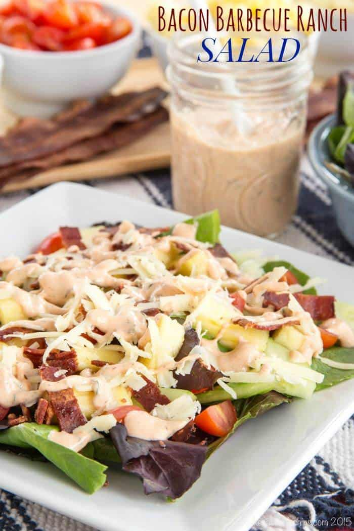 Bacon Barbecue Ranch Salad topped with Homemade Greek Yogurt Barbecue Ranch Salad Dressing - a simple side salad perfect for a California Pizza Kitchen Gluten-Free Crispy Thin Crust pizza night or with grilled chicken. #mycpkpizza #AD   cupcakesandkalechips.com   gluten free recipe