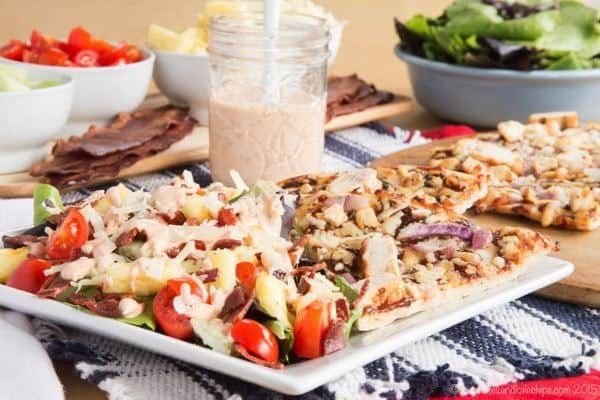 Bacon Barbecue Ranch Salad topped with Homemade Greek Yogurt Barbecue Ranch Salad Dressing - a simple side salad perfect for a California Pizza Kitchen Gluten-Free Crispy Thin Crust pizza night or with grilled chicken. #mycpkpizza #AD | cupcakesandkalechips.com | gluten free recipe