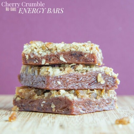 Cherry Crumble No-Bake Energy Bars are a healthy no-bake snack with a sweet cherry layer and crumbly streusel topping. This recipe is gluten free and vegan.