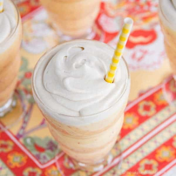 Dairy-Free Peach Mango Lassis with Whipped Coconut Cream  - add some fresh peaches to the traditional Indian drink for a cool, creamy, and healthy snack or dessert! | cupcakesandkalechips.com | gluten free, paleo, vegan recipe