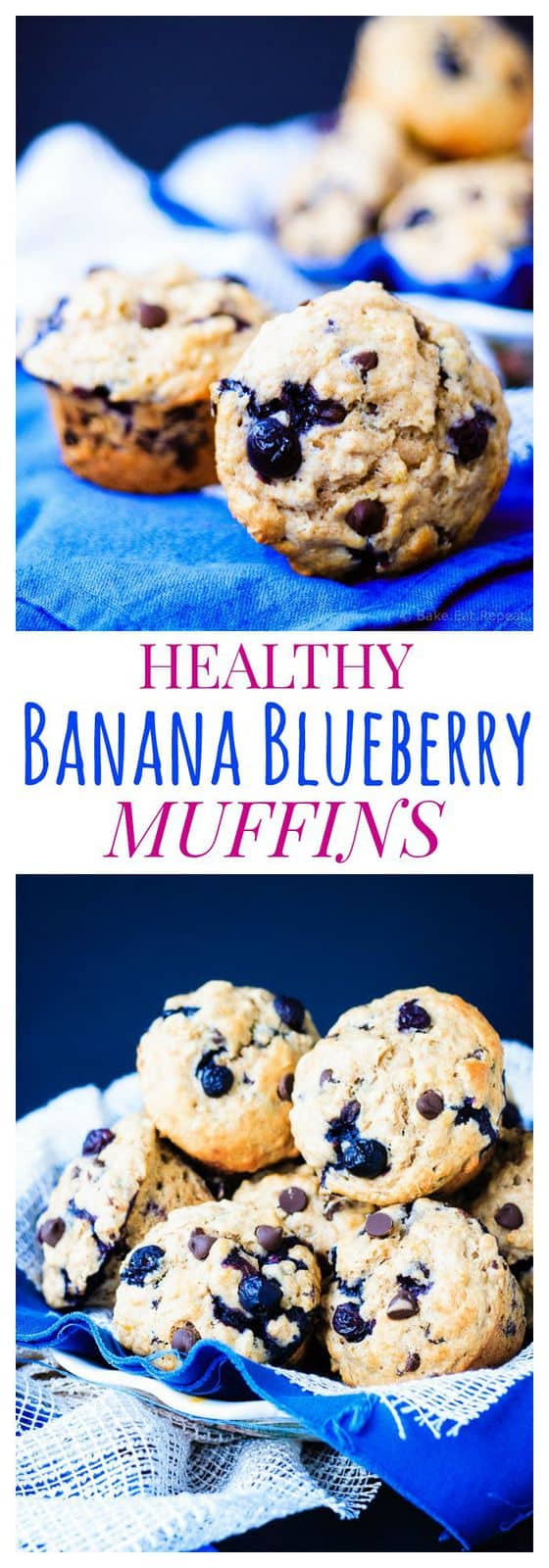Healthy Banana Blueberry Muffins -  are soft and fluffy, plus packed with fruit and whole grains for a perfect breakfast or snack. | bakeeatrepeat.ca for cupcakesandkalechips.com