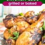 tandoori grilled chicken drumsticks on a plate