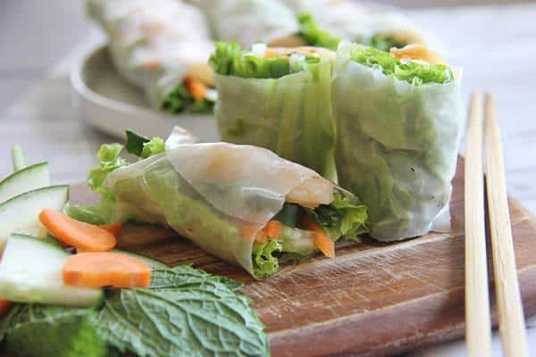 Shrimp Summer Rolls in Rice Wrappers cut in half for serving