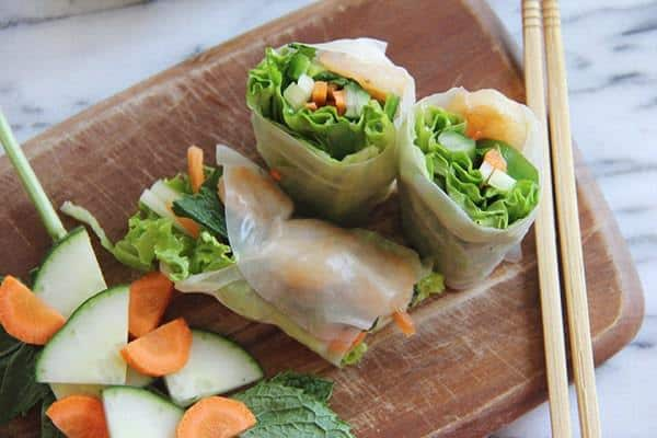 Shrimp Rice Paper Rolls with fresh veggies