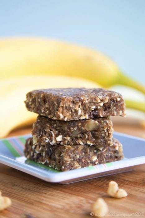 Banana Nut Bread No-Bake Energy Bars - just one of the recipes for healthy no-bake snacks kids love to find in their school lunch or as an after school snack.