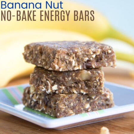 banana nut no-bake energy bars square image with title