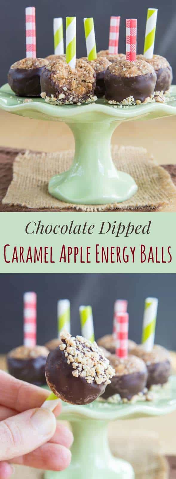 Chocolate Dipped Caramel Apple Energy Balls - a favorite fall sweet treat transformed into a healthy little energy bite! | cupcakesandkalechips.com | gluten free, vegan, nut free, and peanut free options